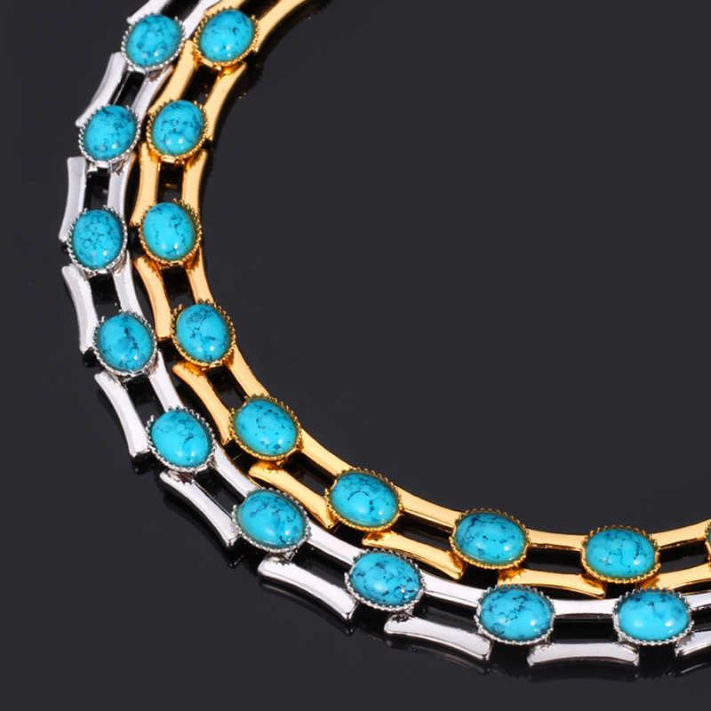 Choker naszyjnik moda biżuteria dla kobiet/mężczyzn zielony Collares biżuteria w stylu Vintage złoty kolorowy naszyjnik N5148