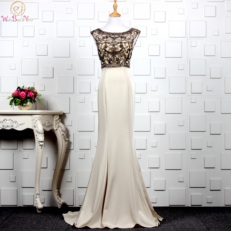 Khaki Evening Dresses Mermaid Elegant Long Sleeveless Scoop Neck Beaded Crystal 2019 Mother Dresses Prom Formal Party Gown Plus