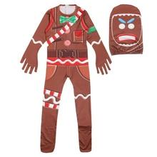 Купить с кэшбэком Gingerbread ManCosplay Costume Kids Streetwear Costumes Boys Jumpsuits FfortnitedCos Children Halloween Festive Party Supplies