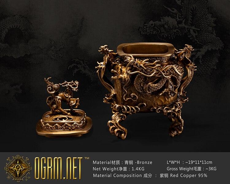 OGRM Artisanat Bronze Dragon Phoenix Kylin Brûleur D'encens Chinois Feng Shui Mascotte Ming Qing Dynasties Classique Encens Figure
