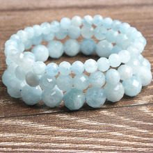 LanLi 6/8/10mm Fashion natural Jewelry faceted top aquamarines beads bracelet be fit for men and women  Accessories amulets
