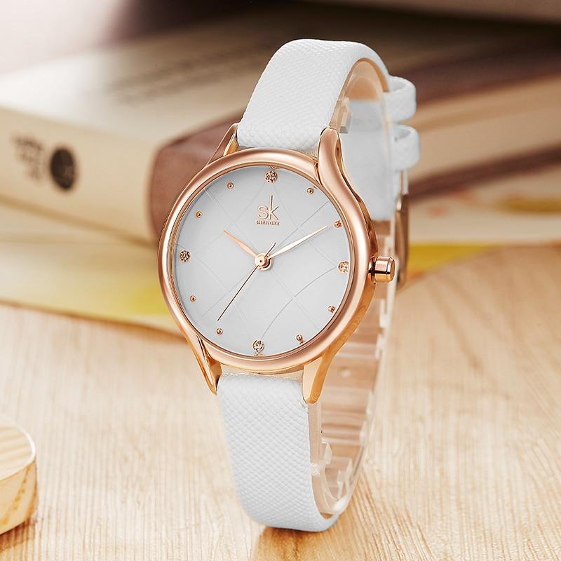 b4bc43a69 Shengke Brand Fashion Women Leather Watches Luxury Crystal Dial Ladies  Quartz Watch Relogio Feminino 2018 SK Wrist Watch #K8013