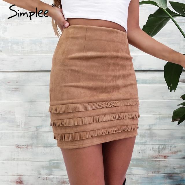 Simplee Retro borla camurça lápis de couro saia Outono cintura alta magro mini saia das mulheres inverno 2016 bodycon saias curtas Casuais