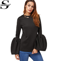 Sheinside Office Blouse Womens Long Sleeve Black Blouse Korean Style New Black Bell Sleeve Keyhole Back Blouse