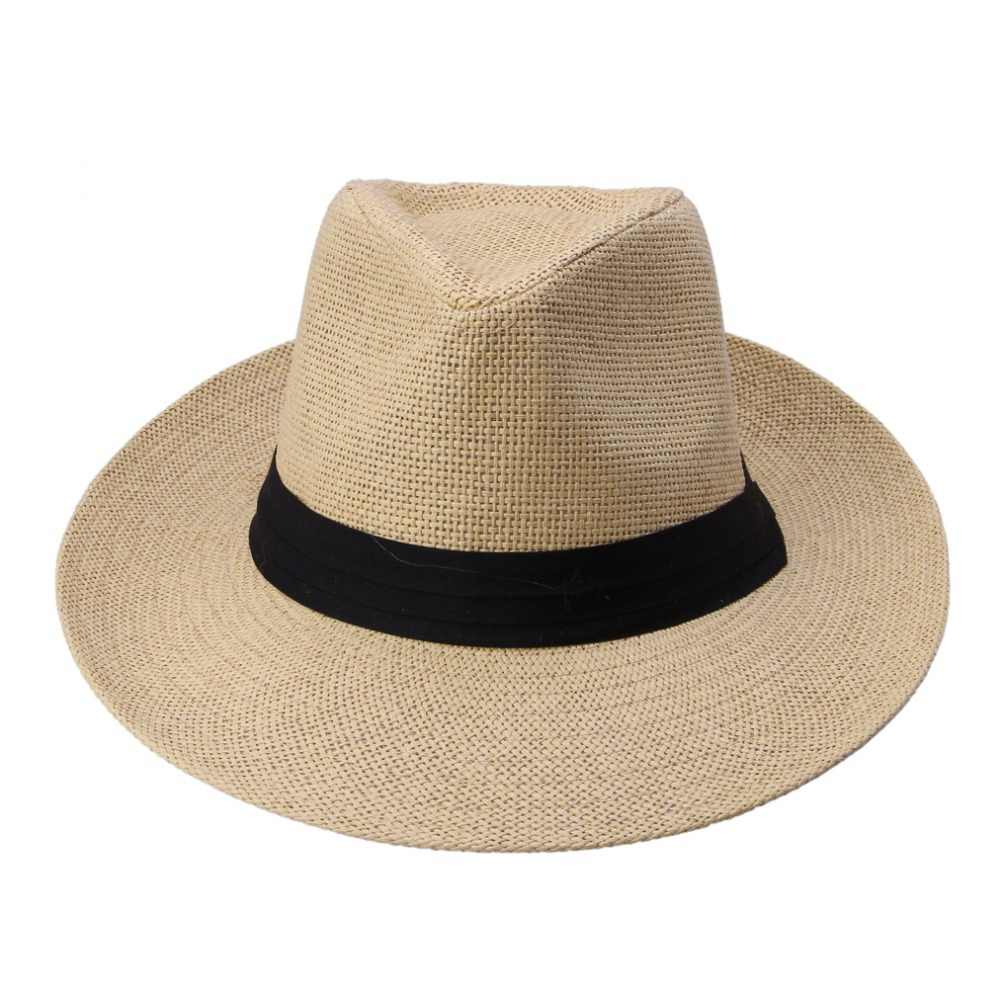 Hot Summer Fashion Casual Unisex Trilby Beach Tesa larga Jazz Sole cappello Panama Cappello di Paglia di Carta Donne Uomini Cap Con Black Ribbon