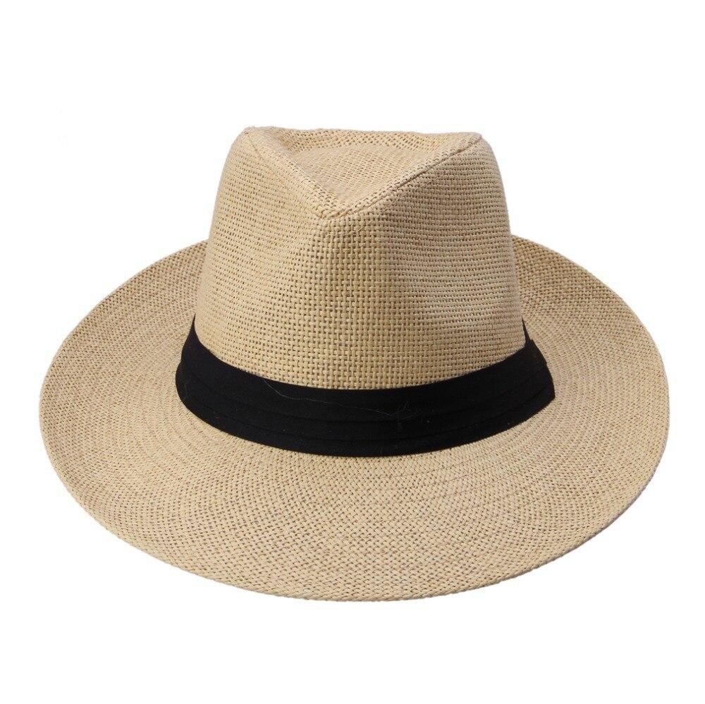 Caliente de moda de verano Casual Unisex playa sombrero ala grande Jazz sol  sombrero panamá de paja de papel 5711bb435bc