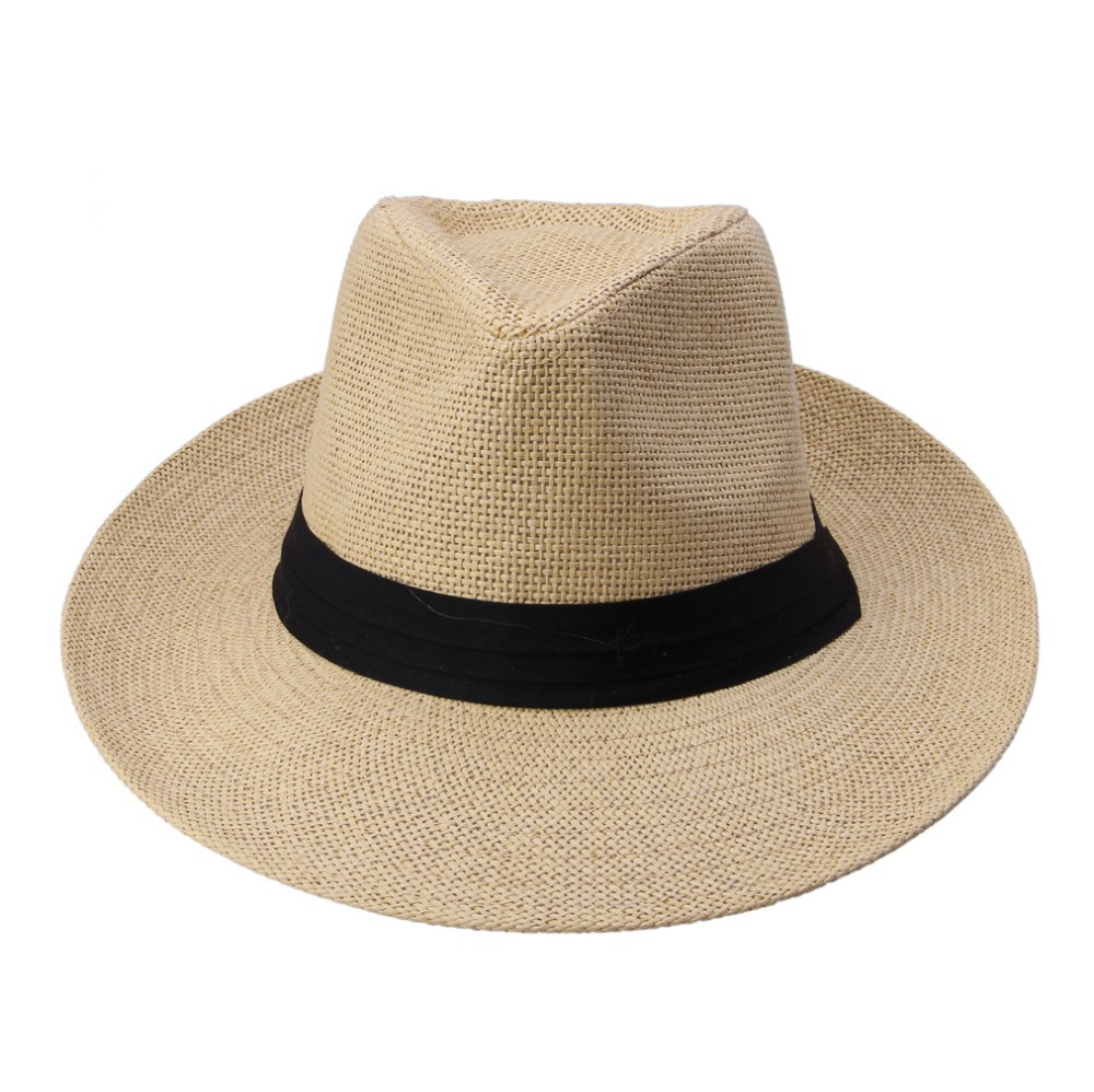 Hot Fashion Summer Casual Unisex Beach Trilby Large Brim Jazz Sun Hat Panama Hat Paper Straw Women Men Cap With Black Ribbon image