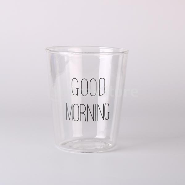 Good Morning Milk Tea Clear Cup Coffee Heat-Resistant Mug