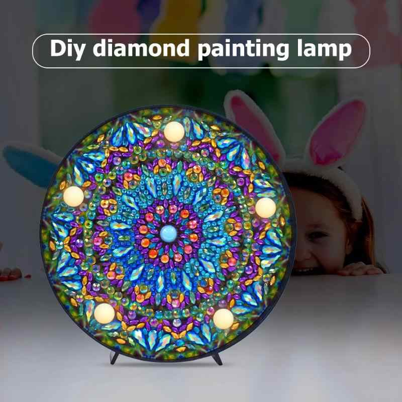 Round DIY Mandala Landscape Diamond Painting Light DIY Embroidery Lamp Full Special Drill LED Lamp Round Shinny Beads