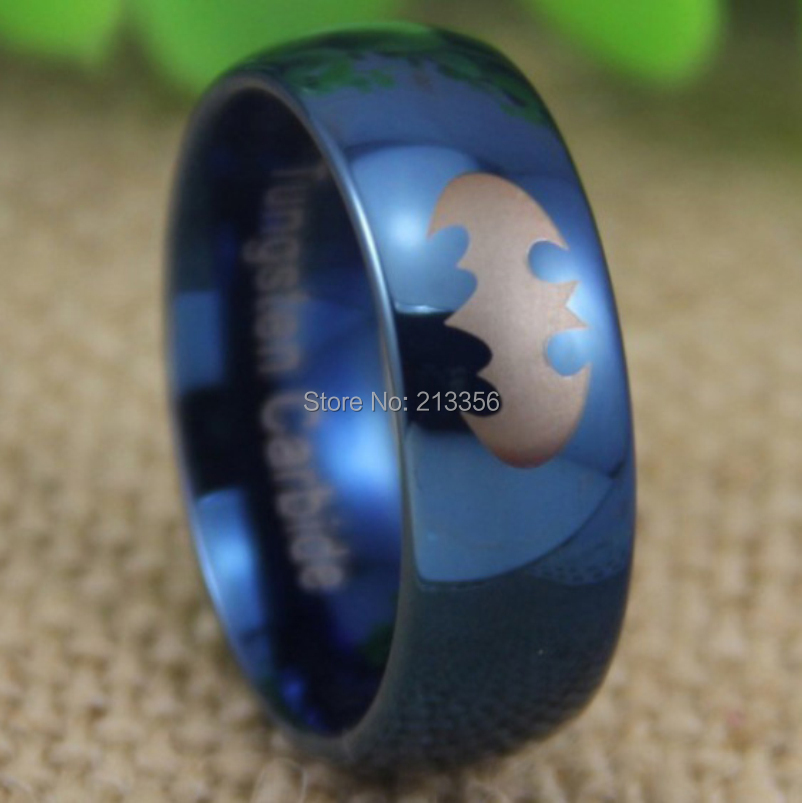 aliexpresscom buy cheap price free shipping usa uk canada russia hot selling 8mm super batman shiny blue dome new mens tungsten wedding band ring from