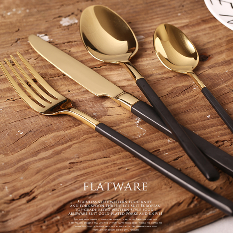 KuBac 4Pcs / Svart Guld Bestick Set Rostfritt Stål Western Food Porslin Set Gaffel Steak Knife Dinnerware Set