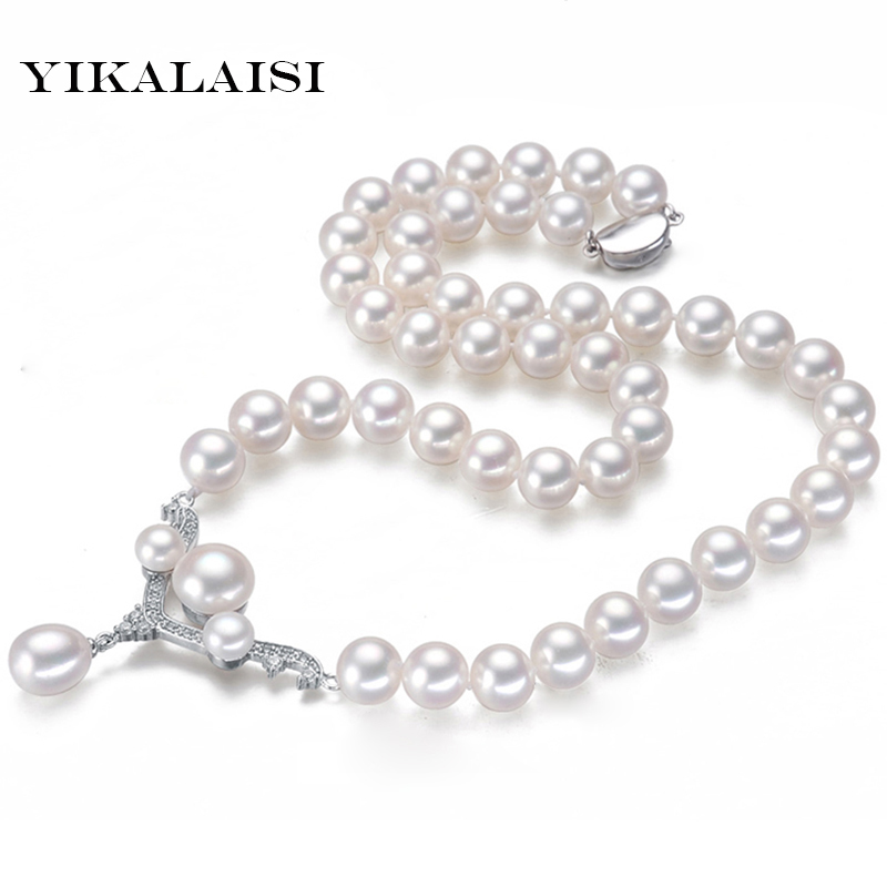 YIKALAISI 2017 Real Freshwater Natural Pearl Necklace Women fine Perfect Round necklace 925 sterling silver Pearl Jewelry yikalaisi 2017 fine natural freshwater pearl necklace 925 sterling silver jewelry 8 9mm real pearl necklace gifts for women