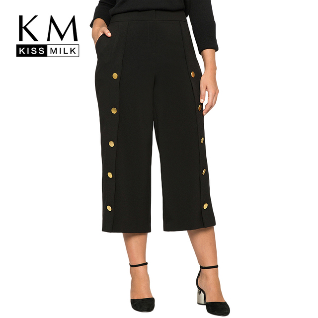 70807bccce533 Kissmilk Plus Size Women Solid High Waist Wide Legs Three Quarter Pants  Double Button Casual Loose Female Cropped Trousers