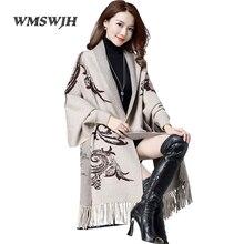 Женские Элегантные кардиганы, свитер, плащ, пальто, свободная кисточка, рукав летучая мышь, Осень-зима, кашемировый вязаный кардиган, свитер, шарф, накидка