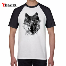 Summer T-shirt Animal Wolf 3D Print T-Shirt Fashion Mens Womens Couple Graphic Tees Casual Tops White Unisex