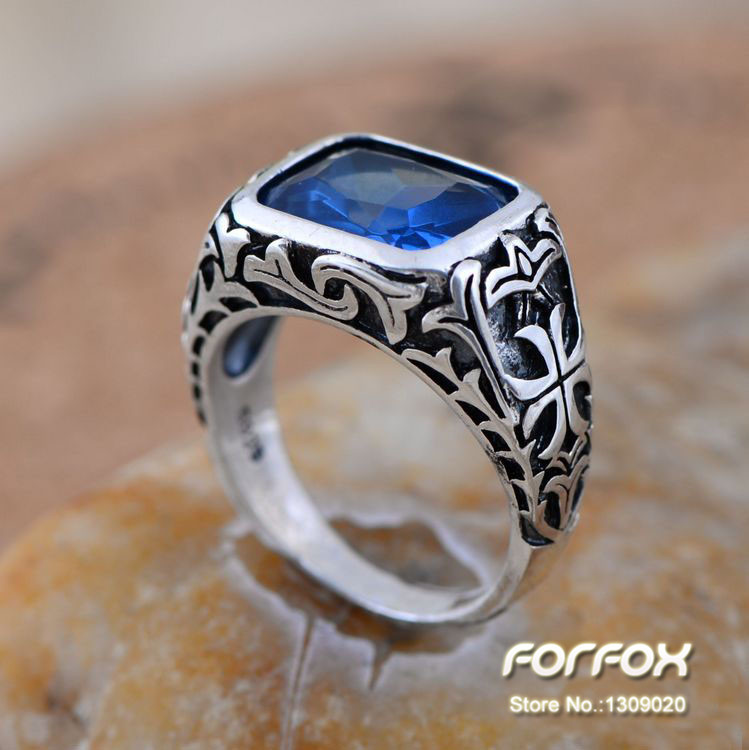 Fashion Vintage 925 Sterling Silver Men\'s Ring with Blue Zircon ...