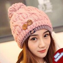 Новый Зимы Женщин Толстые Теплые 100% Ручной Вязать Шляпу Шапочка с Кнопками