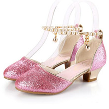 New Princess Shoes Girls High-heeled Dance Shoes Pink White Performance School Dress Shoes Student Baby Kids Leather Shoes 02A босоножки no pink crystal high heeled princess shoes