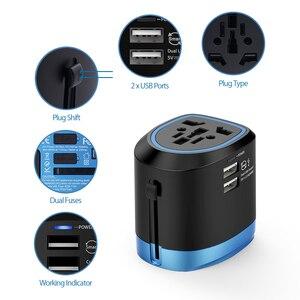 Image 3 - Ntonpower adaptador universal para viagem, adaptador universal para viagem, tudo em um carregador de tomada internacional com 2 portas usb, funciona em 150 + países