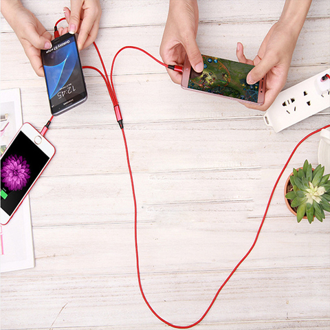 for iPhone6 7/Android/Type C 3 in 1 Micro USB 1.2M Cable Universal 2.4A fast Charge for Mobile Phones Charging Cables 8Pin Quick Lahore