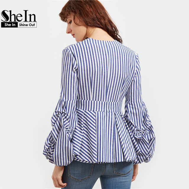 SheIn Blouse Office Lady Woman Blue Striped Deep V Neck Lantern Sleeve Box Pleated Peplum Top Womens Elegant Long Sleeve Blouse