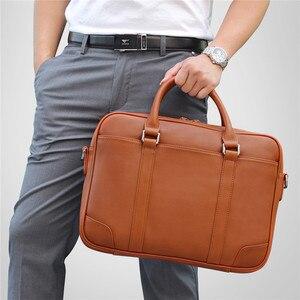Мужской деловой портфель Nesitu, черный/коричневый портфель из натуральной кожи для ноутбука 14 дюймов, сумка-мессенджер для путешествий, M7349