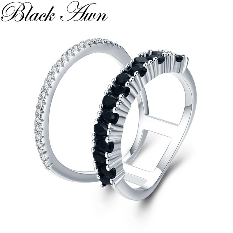 Classic 3.5g 925 Sterling Silver Fine Jewelry Baguet Row Engagement Black Spinel  Engagement Rings For Women G023