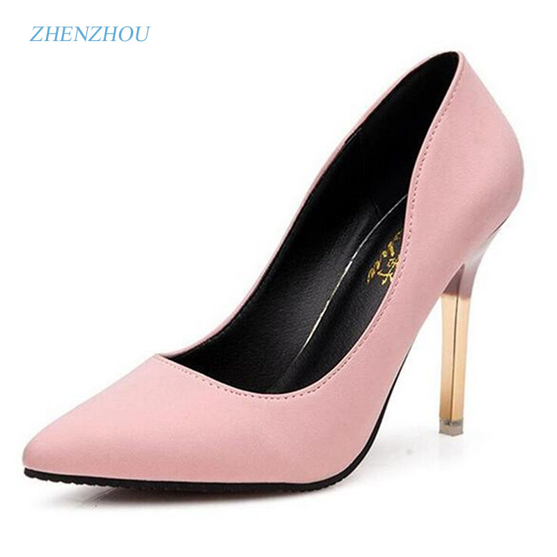 Pumps 2018 summer ol single shoes shallow mouth pointed toe high-heeled shoes thin heels sexy pink women's high-heeled shoes
