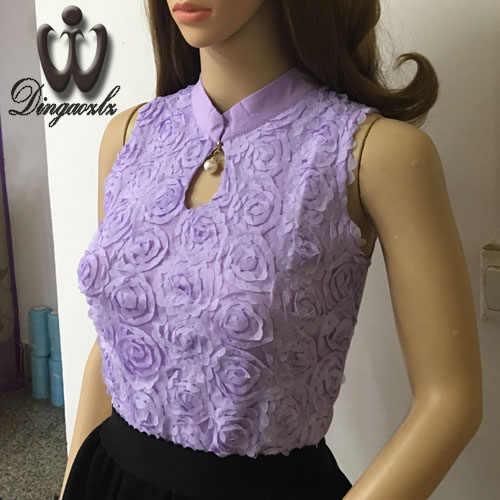 Dingaozlz 夏ベストはファッション女性服ノースリーブシフォンシャツエレガントなビーズレースブラウス Blusas Femininas