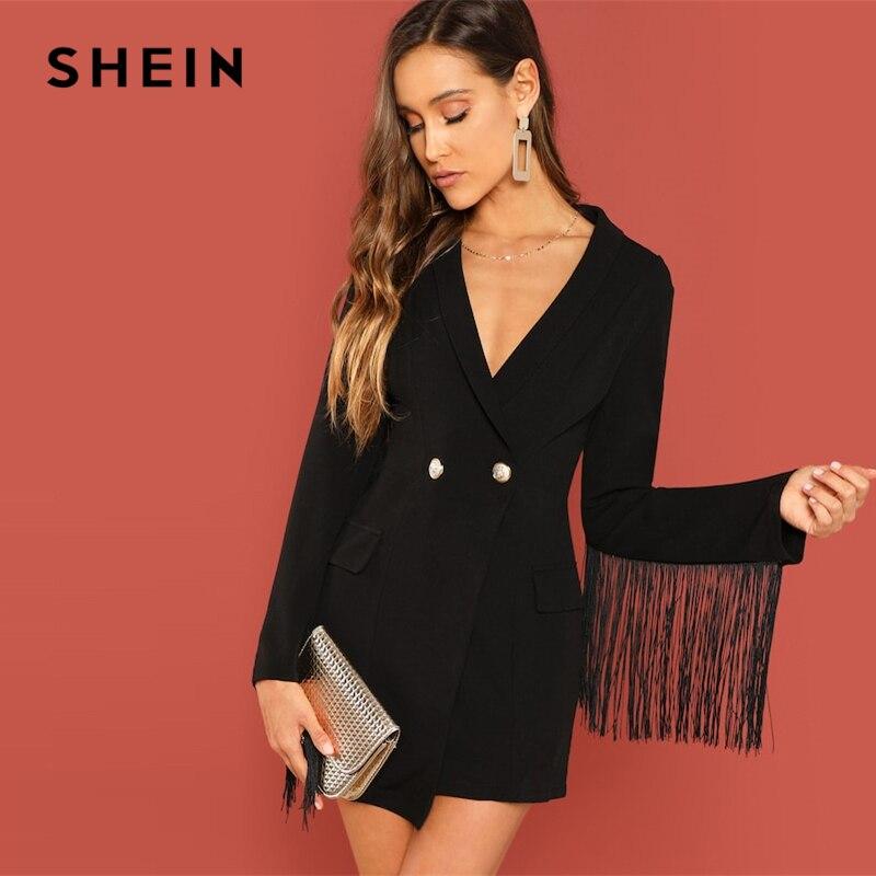 SHEIN Black Office Lady Tassel Solid Single Button Trim Notched Blazer 2018 Autumn Modern Lady Workwear Women Coat Outerwear