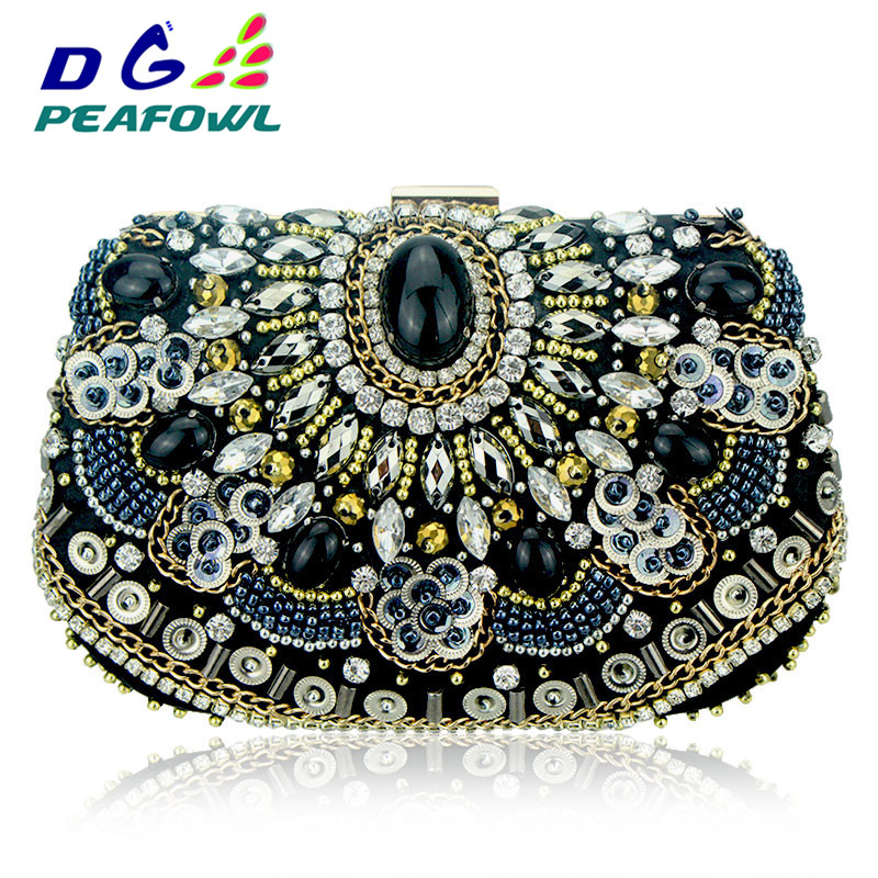 Vintage Embroidery Women Handbags Beaded Chain Accessory Metal Day Clutches Party Wedding Evening Bags One Side Diamonds PurseVintage Embroidery Women Handbags Beaded Chain Accessory Metal Day Clutches Party Wedding Evening Bags One Side Diamonds Purse