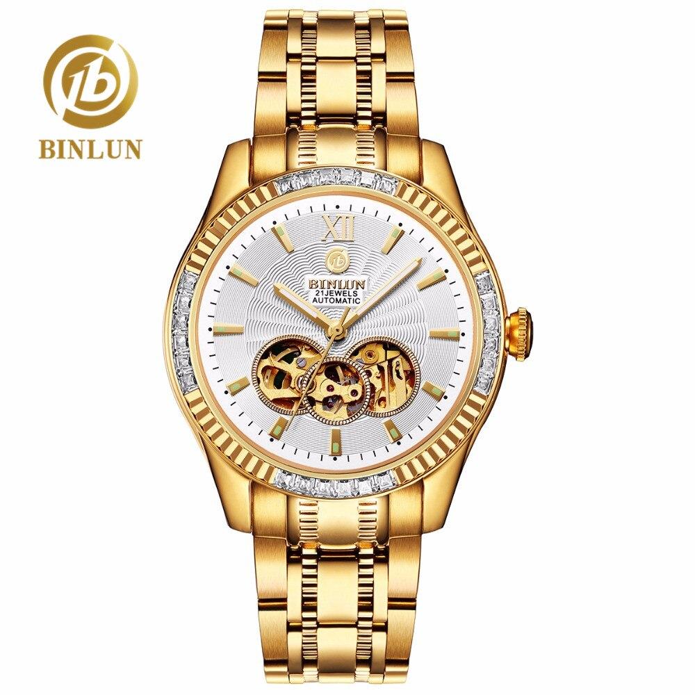 BINLUN Luxury 18K Gold Skeleton Mechanical Men's Watch Diamond Decoration Sapphire Dial Waterproof Men's Automatic Wristwatch цена в Москве и Питере