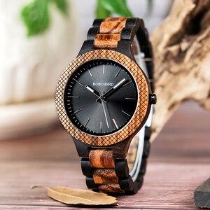 Image 3 - בובו ציפור סיטונאי קלאסי גברים של עץ שעונים שעון לוגו מותאם אישית יד שעונים גברים עם רשת לוח relogio masculino LD30 1