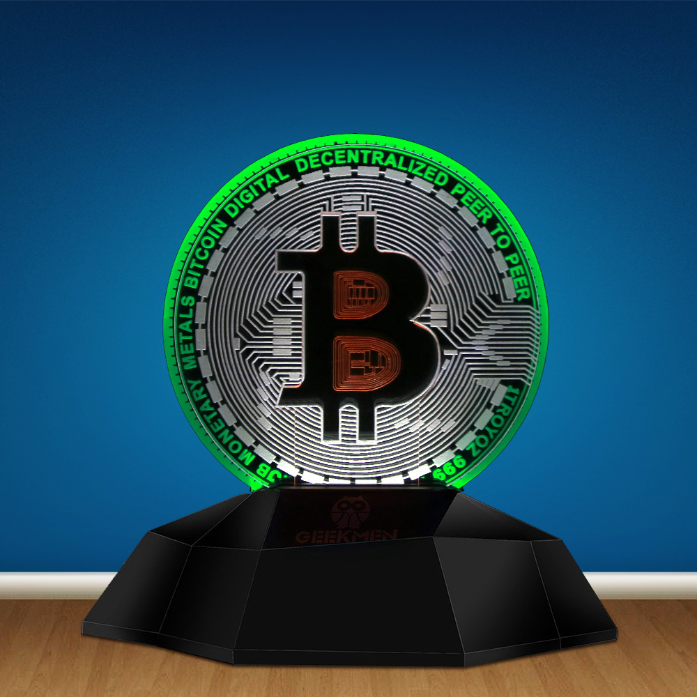 Monetaria metales Bitcoin Digital descentralizada entre pares 3D ilusión luz de noche Bitcoin 3D línea lámpara de mesa lámpara de