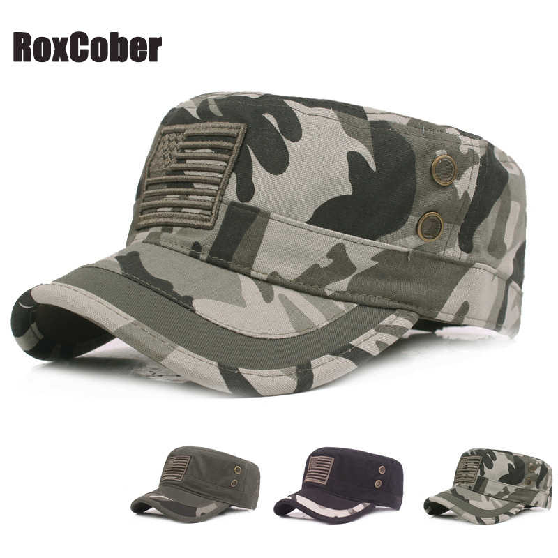 2fd763ca RoxCober Summer Autumn Military Cap Men Women Cotton camouflage Flat Top  Army Hat with Air Hole Adjustable Sun Hat Visors