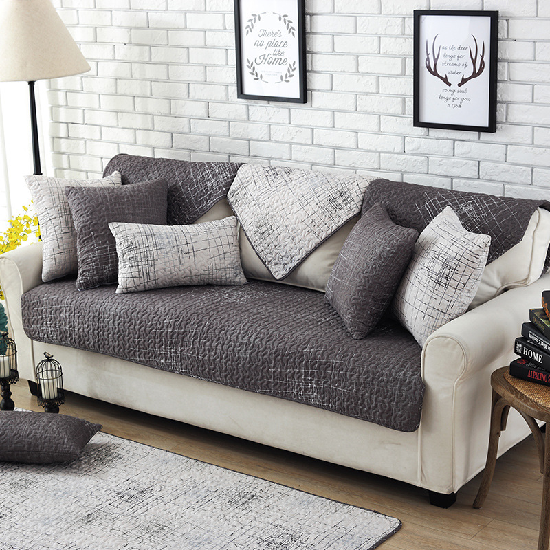 Sofa Or Couch: NEW Dark Gray Simple Non Slip Sectional Sofa Cover Set