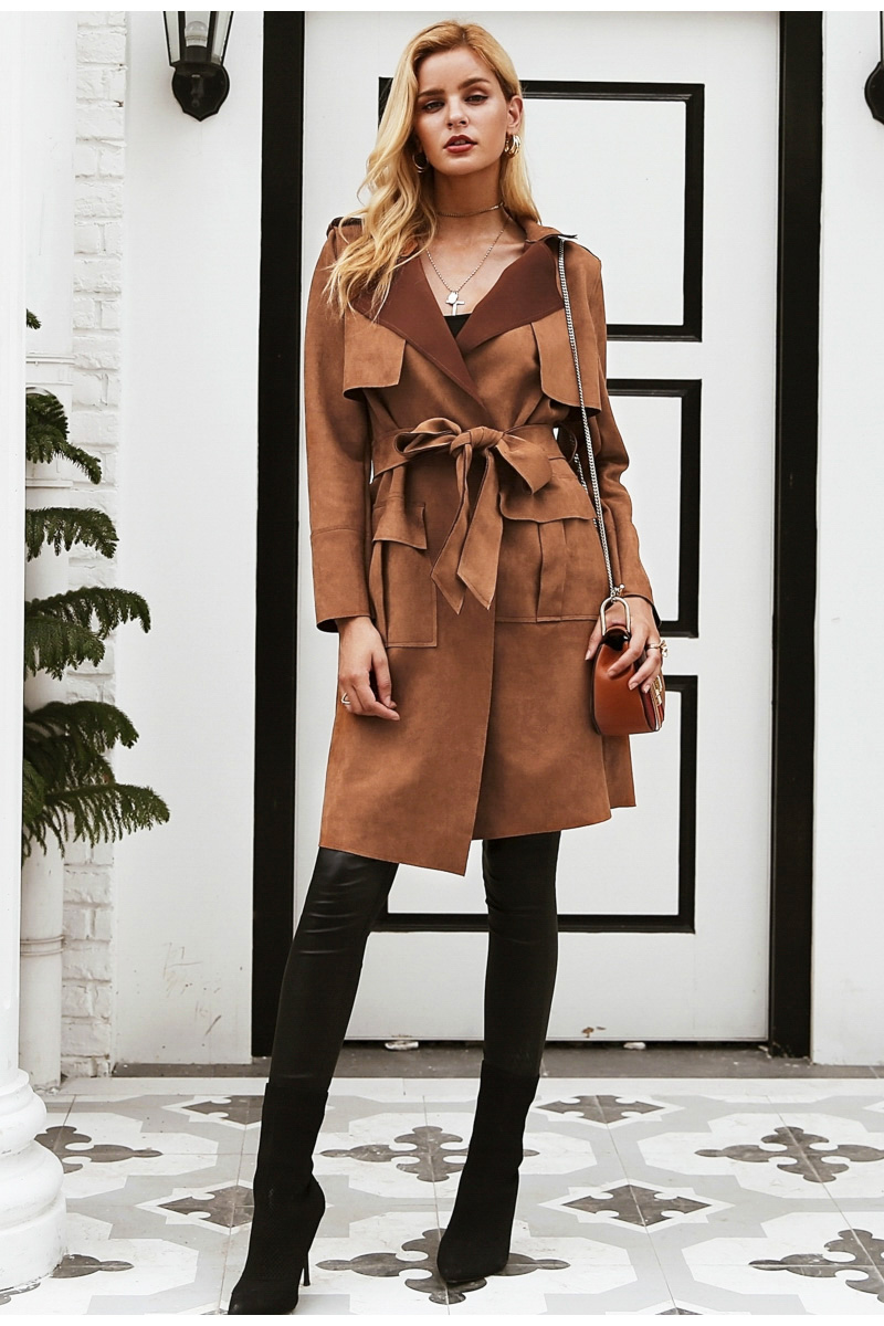 Simplee Turn down collar sash suede trench coat Casual leather pocket long women autumn coat Winter warm outwear overcoat female 7