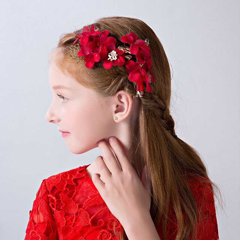 0e24832068c25 Red Flower Hair Clips for Girls Alloy Barrettes Flower Girl Wedding Pageant Headpiece  Hair Accessories Teens Birthday Party Gift