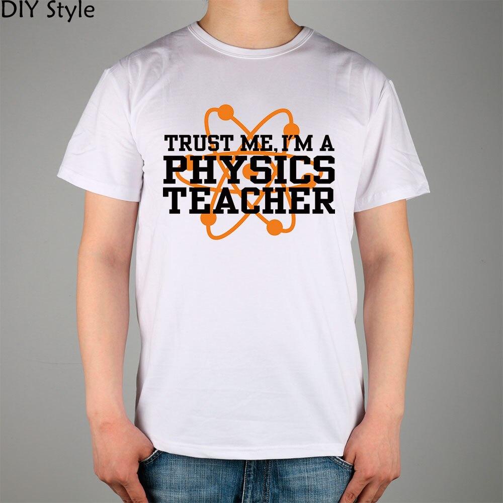 e0f6d772b0aad ÖĞRETMEN FIZIK kısa kollu Tişört Üst Likra Pamuk Erkekler T gömlek Yeni DIY  Stil