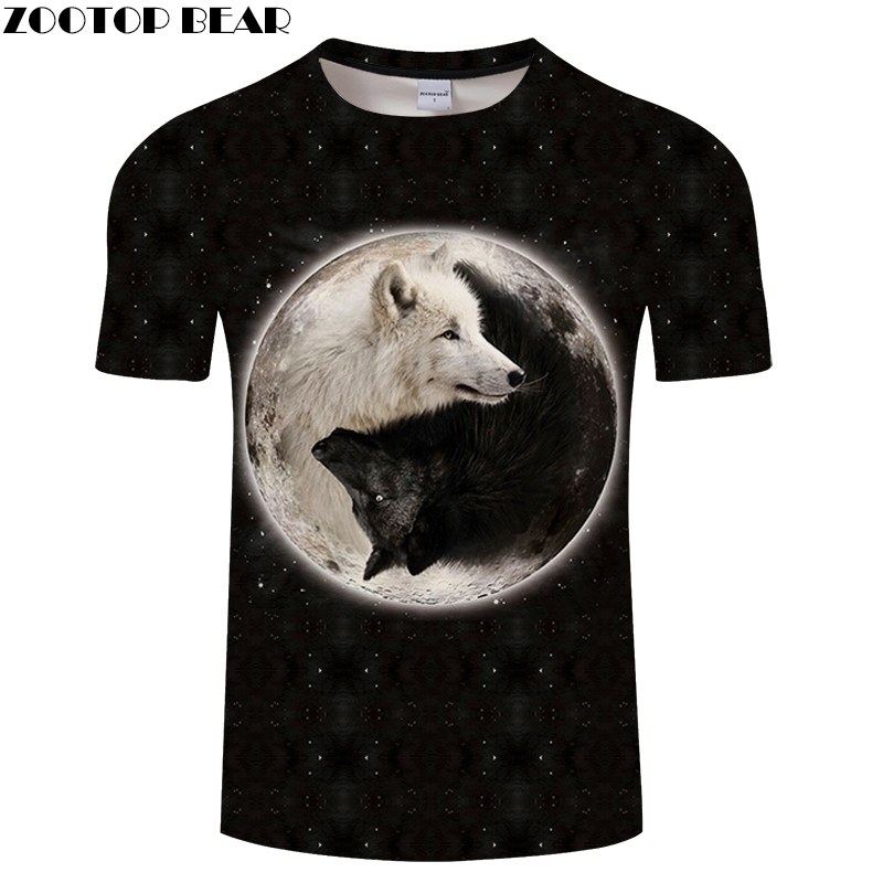 Ying & Yang in Dark Men T-shirts 2018 New Black Mens T shirt Tees Summer Camisetas Tops Drop Ship ZOOTOP BEAR