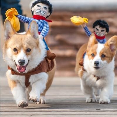 Dog Suit Pet Clothes Dog Clothes Pet Cowboy Horse Riding Clothes Dog Costume Novelty Funny Party Pet Clothing