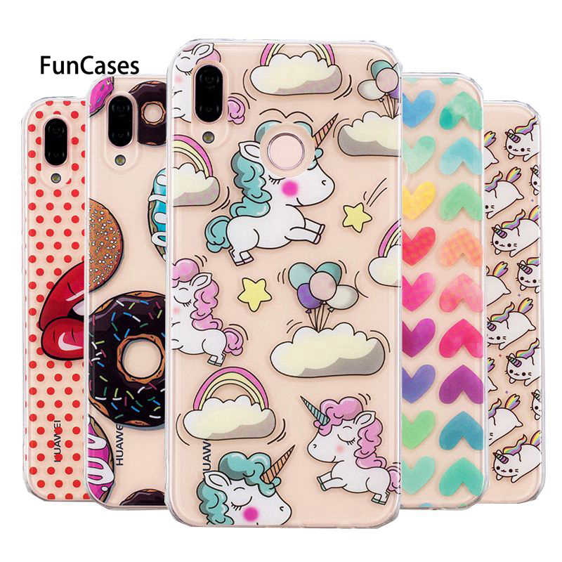 P20lite Unicorn Silicon Case on For Coque Huawei P20 Lite Clear Cover Soft TPU Transparent Cute Animal Cartoon Phone Cases
