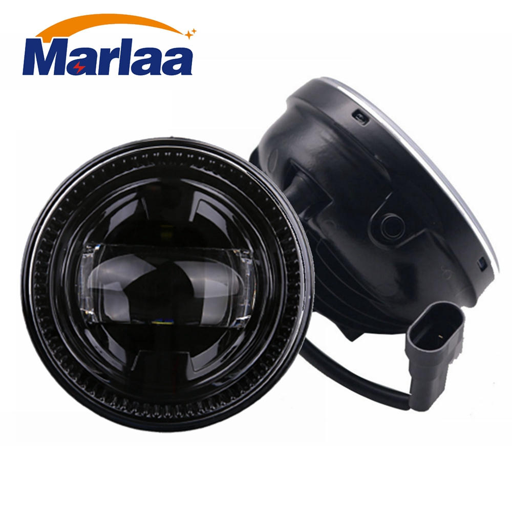 Marlaa 1 Pair 4 Round Fog Lights For 2007-2014 Ford F-150 LED Spot Fog Lamp Front Bumper Driving Light Bulb LED Passing Lights front fog lights lamp bumper lights for toyota auris hybrid touring sports 2014 2015