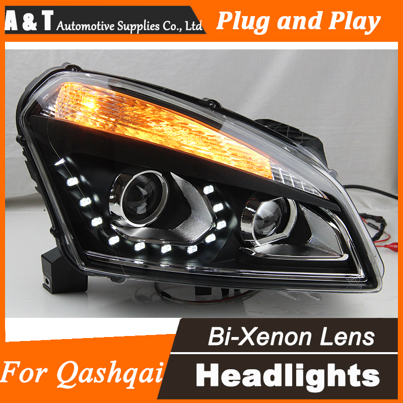 Car Styling for Nissan Qashqai LED Headlight Qashqai Headlights DRL Lens Double Beam H7 HID Xenon bi xenon lens hireno headlamp for 2013 2015 nissan tiida headlight assembly led drl angel lens double beam hid xenon 2pcs