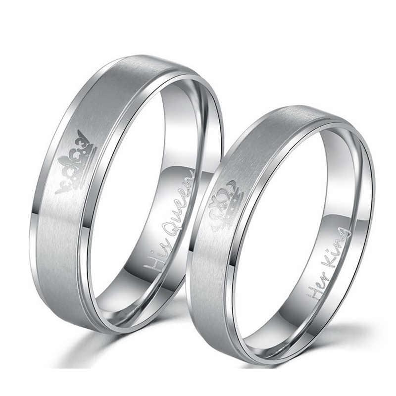 ELSEMODE 1 Uds 2018 nueva moda DIY pareja joyería su rey y su reina anillos de boda de acero inoxidable para Mujeres Hombres joyería