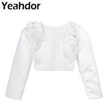 2934ce66d Niños Niñas flor 3D manga larga chaqueta Bolero encogimiento de hombros  cárdigan corto suéter blanco vestido