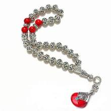 8mm Hollow carved alloy beads with Red pendant Shape 33 Prayer Beads Islamic Muslim Tasbih Allah Mohammed Rosary for women men