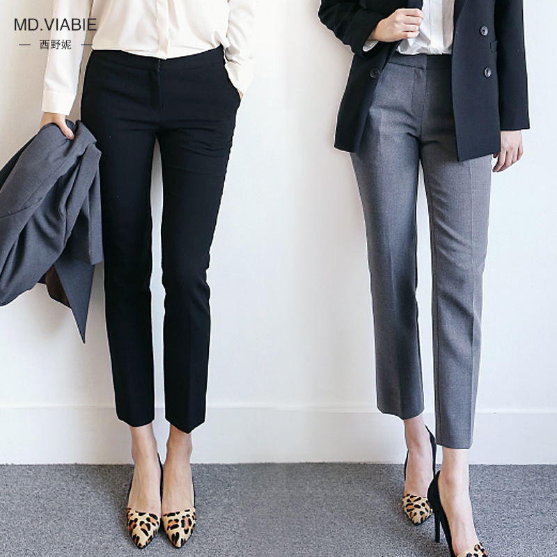 New Womens Classic Suit Pants Office OL Pants Female Plus Size S-2XL Loose Straight Trousers Wild Formal Business Pants 2018
