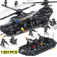 New Building Blocks Compatible LegoINGLYS Swat Team City Police Transport Helicopter Large Sets Bricks Gift Toys For Children