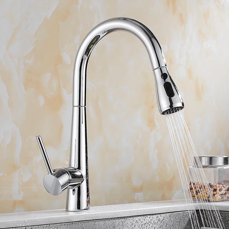 Pull Out Kitchen Faucet Chrome/black Kitchen Sink Mixer Tap 360 degree rotation Sink mixer taps Kitchen Tap Brass Faucet